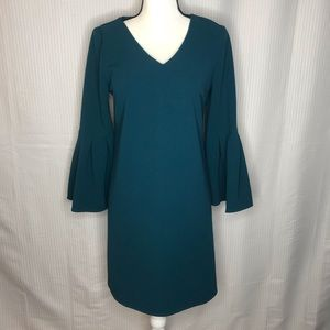 Teal bell sleeved dress